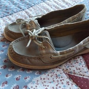 Grey Striped Sperry Top Siders Size 8